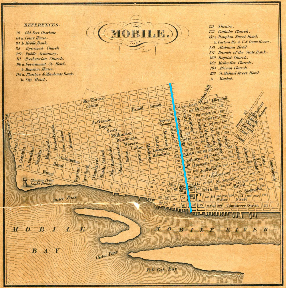 1840 Mobile map showing Government Street's westward expansion
