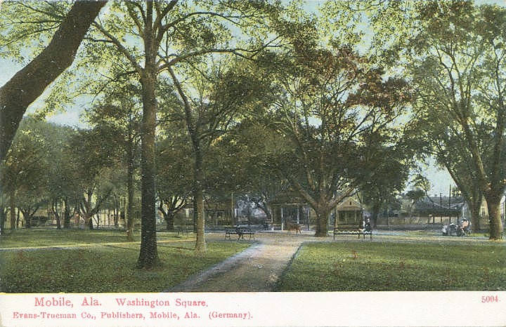 Postcard of Washington Square c.1900 with the deer  at the end of the walk   source: Alabama Department of Archives and History