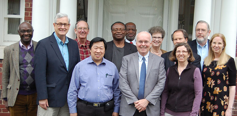 The OMSC Board of Trustees gatheredfor a photo on May 4 following their two-day meeting with incoming executive director Dr. Thomas John Hastings, Mrs. Carol Hastings, and interim executive director Dr. Darrell Whiteman.