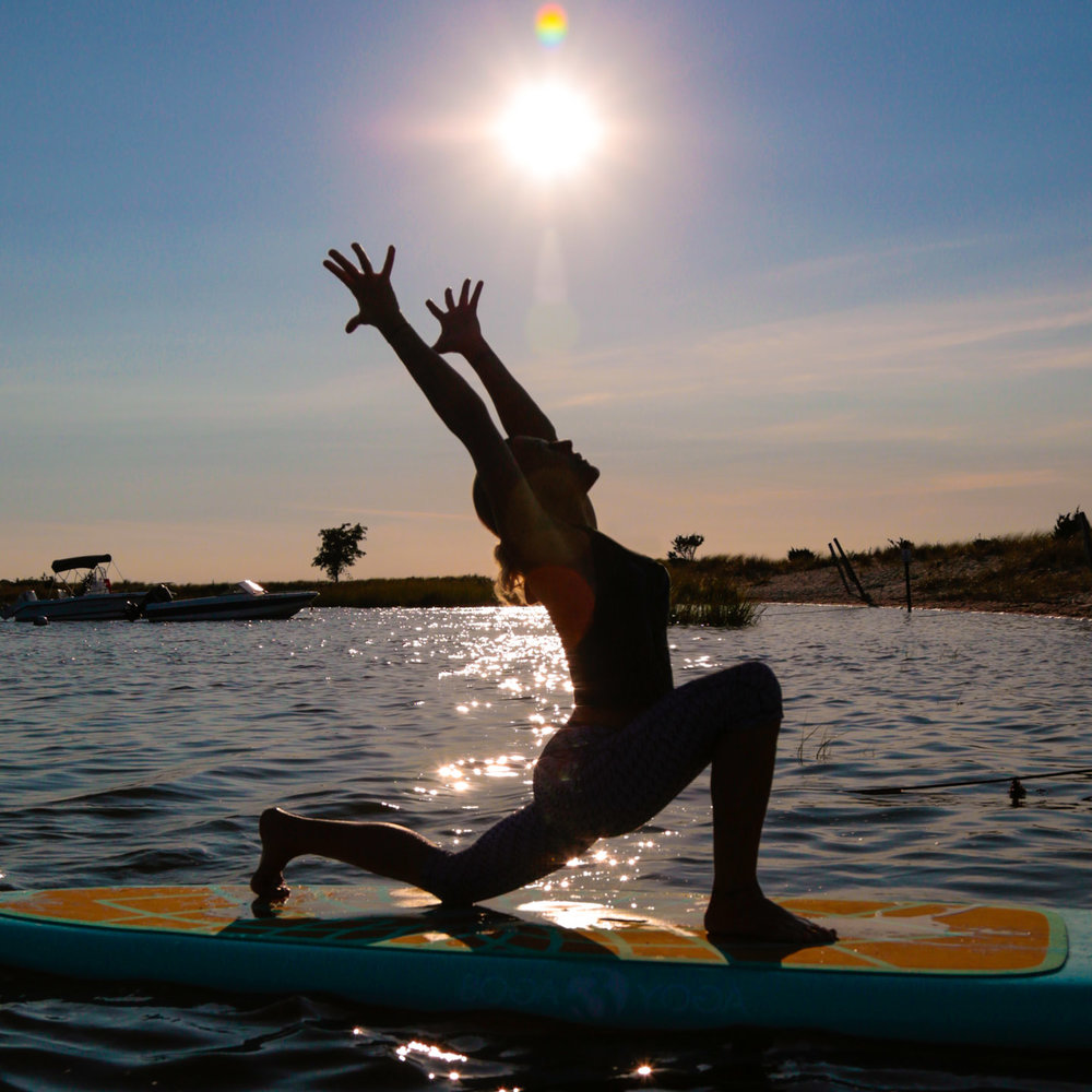 Crescent Moon Lunge on SUP board