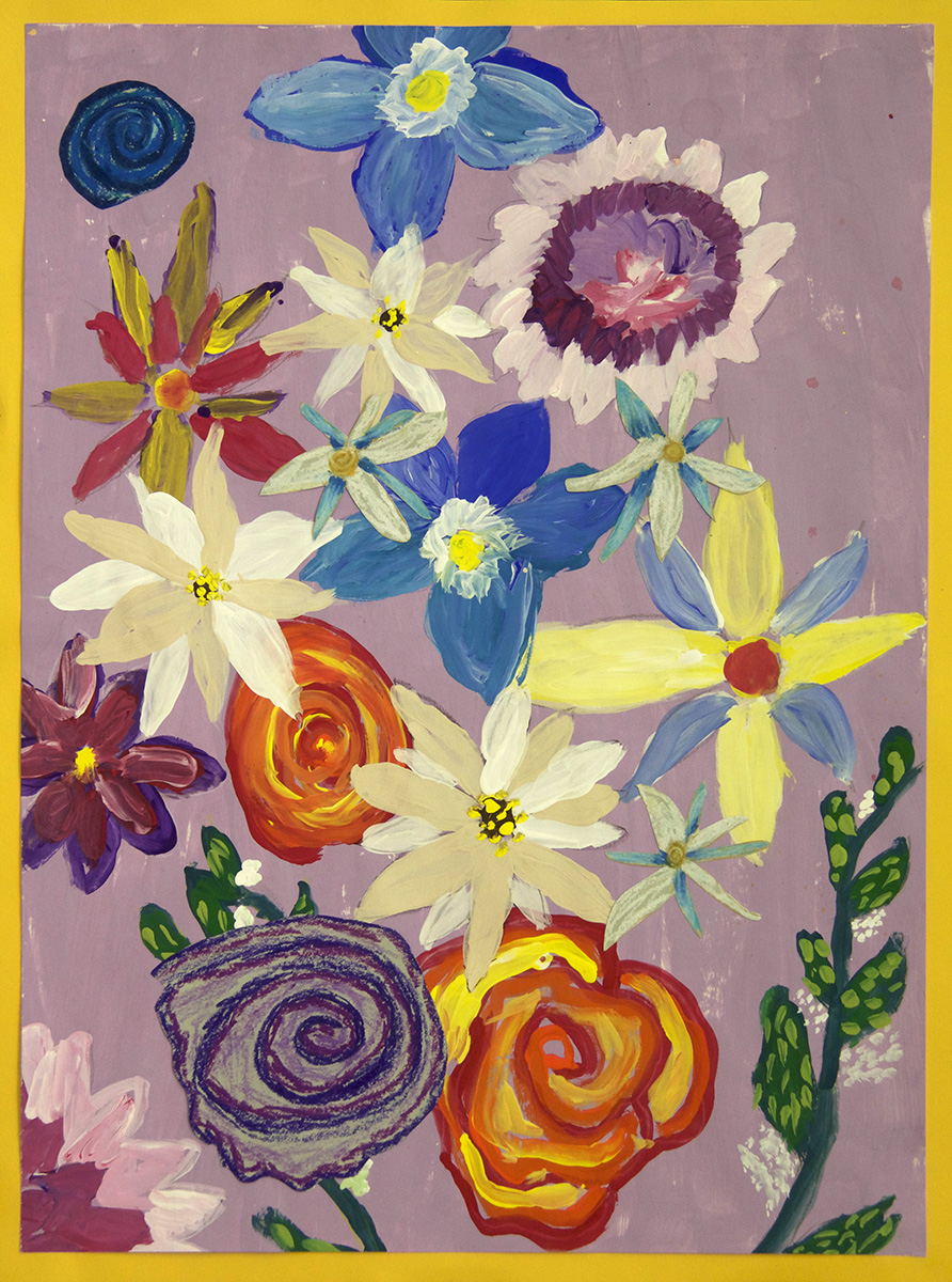 Kindergarten Flower Painting and Collage