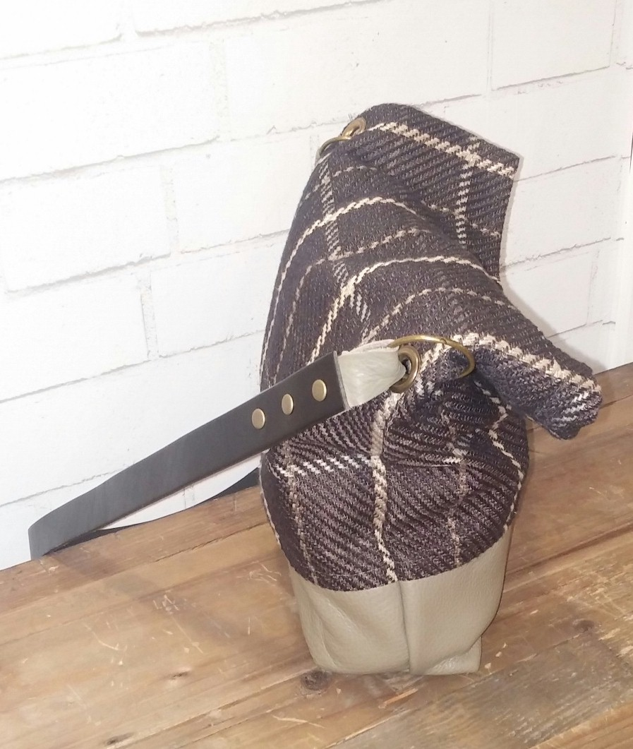 plaid leather taupe small tote.jpg