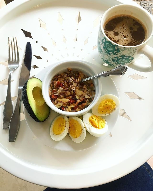 Breakfast on the porch in the pouring rain with a bit of jazz going in the background.  Breakfast is my homemade paleo cereal with almond milk, eggs from a friends chickens, deliciously perfect avocado and a bulletproof Teechino with a shot of @ancientnutrition collagen. . . . . #sundaymorning #sundaybrunch #sundayintheraim #breakfast #healthybreakfast #healthyliving #healthyeating #healthychoices #paleo #paleodiet #wholefoods #wholefood #organic #nutrition #bulletproof #teechino #avocado #avocadowitheverything #lowcarb #lowcarbbreakfast #lowcarbeating #highfatlowcarb #keto #health