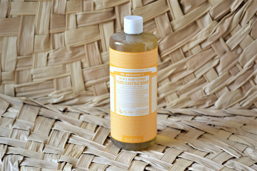 Castile Soap - Dr. Bronner's Pure-Castile Soap is a staple across the world when it comes to organic cleaning products.  It can be used to clean just about anything.  Our family likes to dilute the soap with water and uses it for our general hand-soap and dish-washing soap.