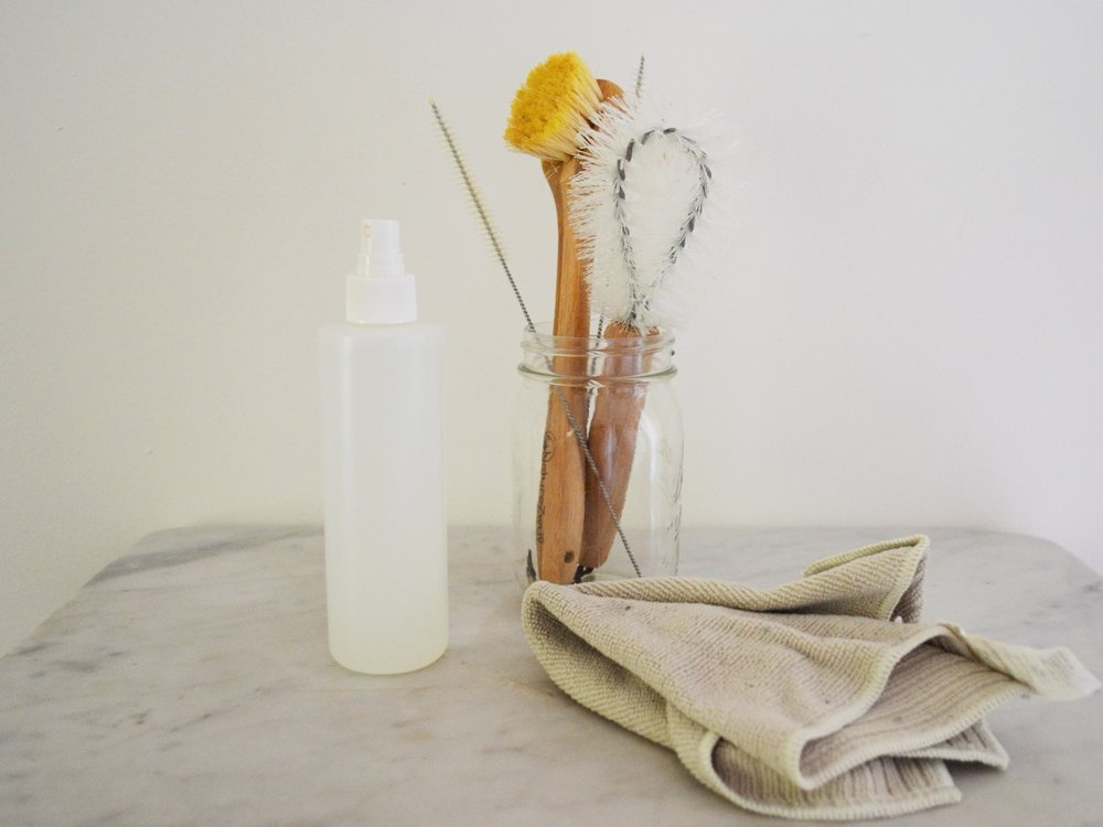 Holistic Cleaning Products - I have to admit that this is the part that I am still working on as so many cleaning products are stored in plastic containers.** As I shared here, our family is on a journey of making our own holistic cleaning products which minimize the use of chemicals and plastic. Some swaps that we can make? Use a sturdy cloth instead of paper towels, natural bristle brushes instead of a sponge, metal or glass bowls and containers instead of plastic ones.