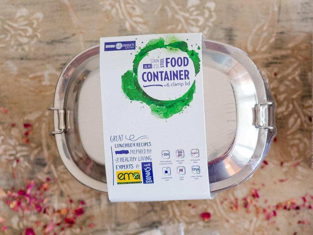 Stainless Steel Container - Planning on gifting some homemade cookies this holiday season? Why not give them away in a reusable container such as this one?
