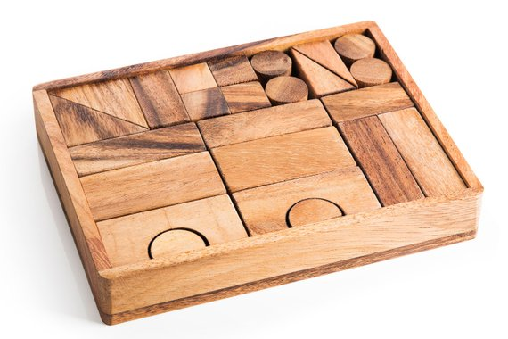 Natural Wood Building Block Set - A classic toy for children of all ages, this beautiful, handcrafted building block set is made of smooth rubber wood. The set encourages children's creativity while teaching shape and size recognition while helping them to promote hand-eye coordination.