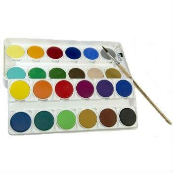 Watercolor Paint Set - Nerchau of Germany makes this vibrant selection of 24 outstanding quality watercolours, packaged in a sturdy plastic case. The double-layer set includes a fine brush and a tube of white mixing paint. These outstanding watercolors will surprise you with their brilliance, fluidity, and longevity.