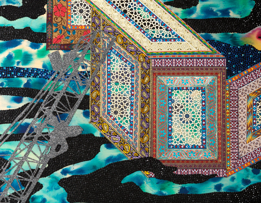"""Visual Heteroglossia: Excavation of the Gentry, Detail, 2016 Jacquard textiles, laser cut Arches watercolor paper, vinyl, jewels, concentrated watercolor and acrylic on wood panel 40"""" x 60"""" x 2"""""""