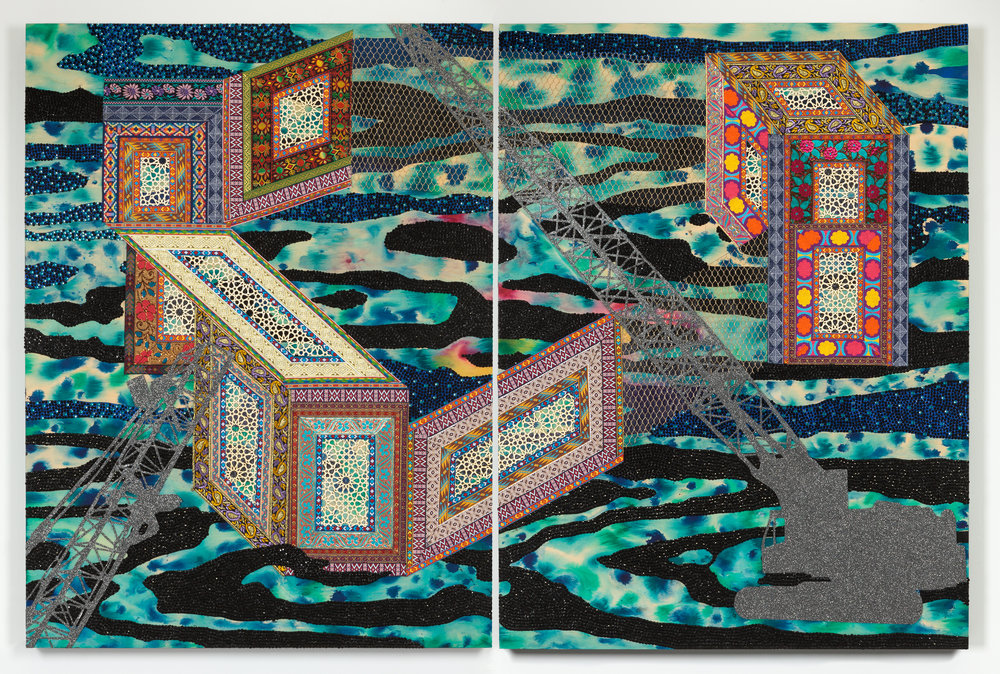 """Visual Heteroglossia: Excavation of the Gentry, 2016 Jacquard textiles, laser cut Arches watercolor paper, vinyl, jewels, concentrated watercolor and acrylic on wood panel 40"""" x 60"""" x 2"""""""