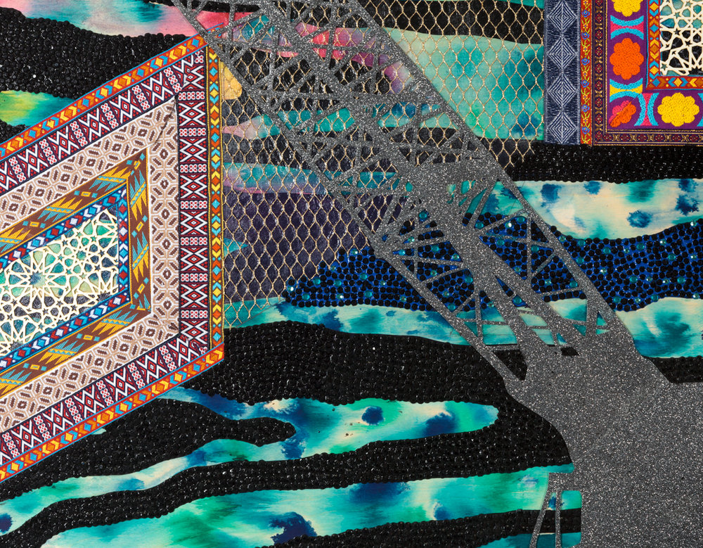 """Visual Heteroglossia: Excavation of the Gentry (Detail), 2016 Jacquard textiles, laser cut Arches watercolor paper, vinyl, jewels, concentrated watercolor and acrylic on wood panel 40"""" x 60"""" x 2"""""""