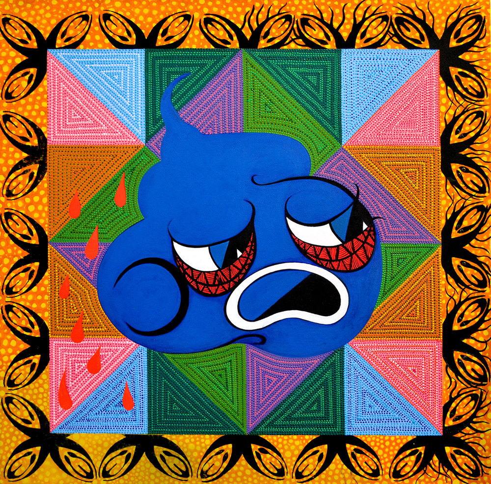 "Blue Poop (Distress), 2013 Acrylic, dimensional paint, and jewels on canvas 30"" x 32"""