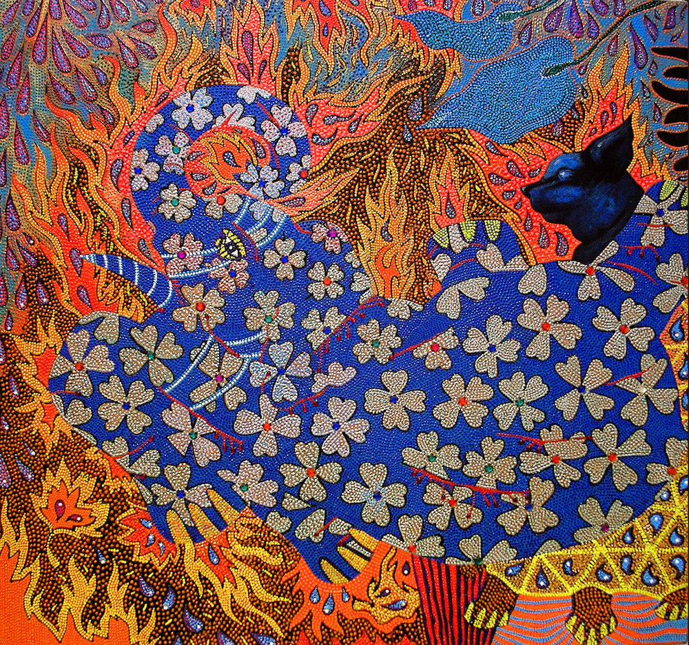 "Blue Elephant Inferno, 2005 Oil, acrylic and jewels on canvas 30"" x 28"" Featured in the  Queens Biennial 2006: ""Everything All At Once "" catalog"