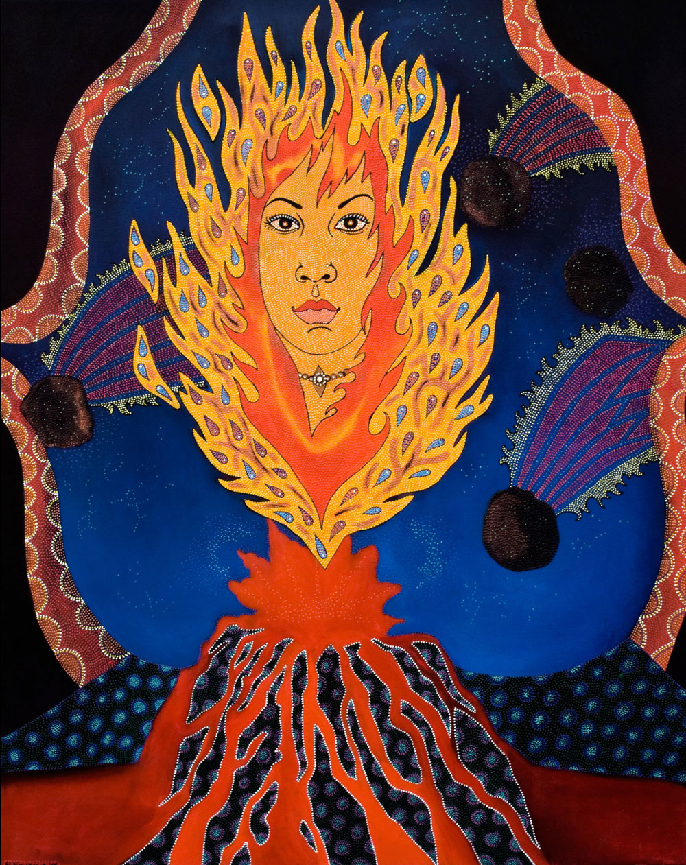 "Pu'u'O'o, 2006 Oil, acrylic and jewels on canvas 61"" x 49"""