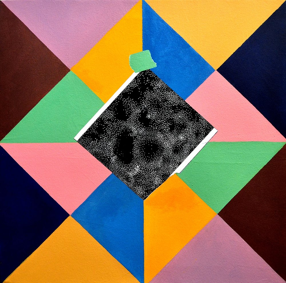 "Near and Far, 2012 Acrylic and dimensional paint on canvas 30""x30"""