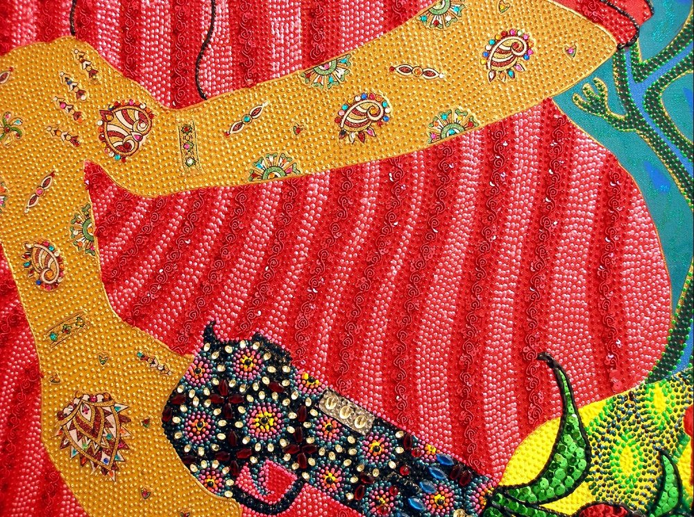 "The Intertwining, detail, 2009 Oil, acrylic and jewels on canvas 48"" x 72"""