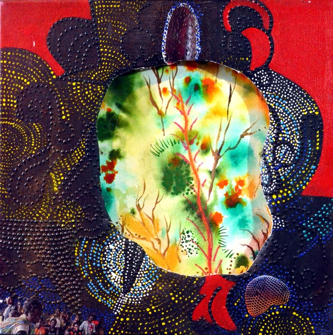 "Portal (Floral), 2013 Acrylic, dimensional paint, collage, paper, watercolor, and pastel 12"" x 12"""