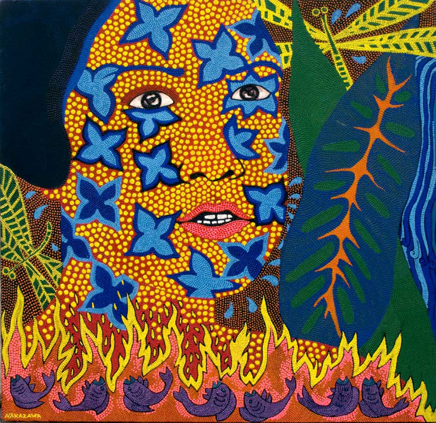 "Self Portrait in Jungle, 2006 Oil and acrylic on canvas 30"" x 28"""