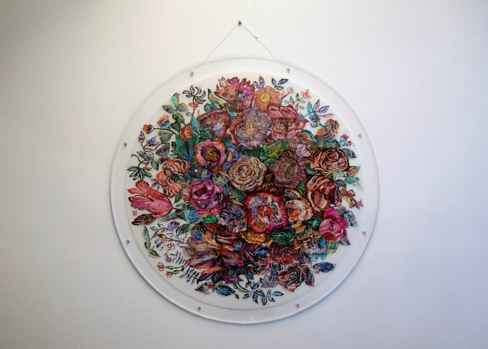 "Song Xin  , 2011   Still life - Flower   Papercut with photoprint on mylar   36"" x 36"""