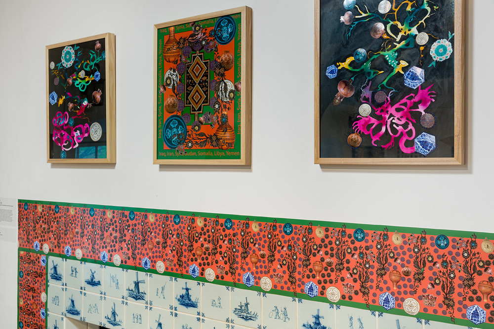 "Detail of ""Seven Nations"" framed collages and site-responsive digital wallpaper  Photo credit: Etienne Frossard"