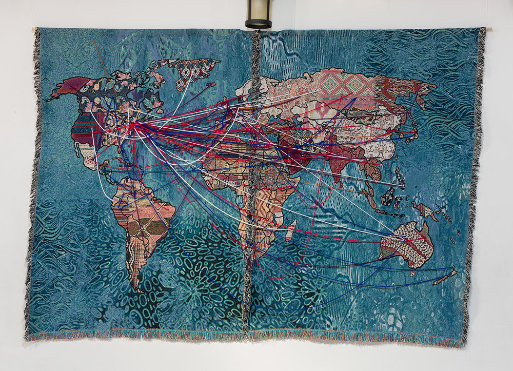 """Our Stories of Migration"" digital tapestry  Photo credit: Etienne Frossard"