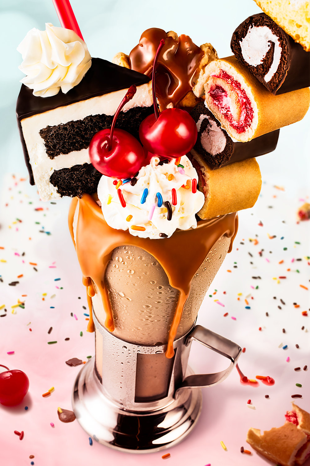 "Food and beverage photography in Austin, TX.  ""Freak shake"" photographed here."