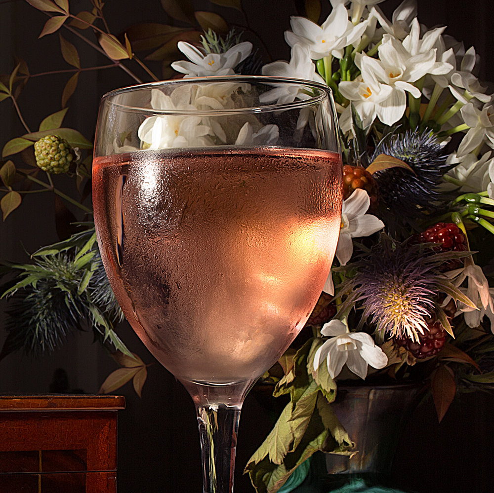 Wine and flowers detail