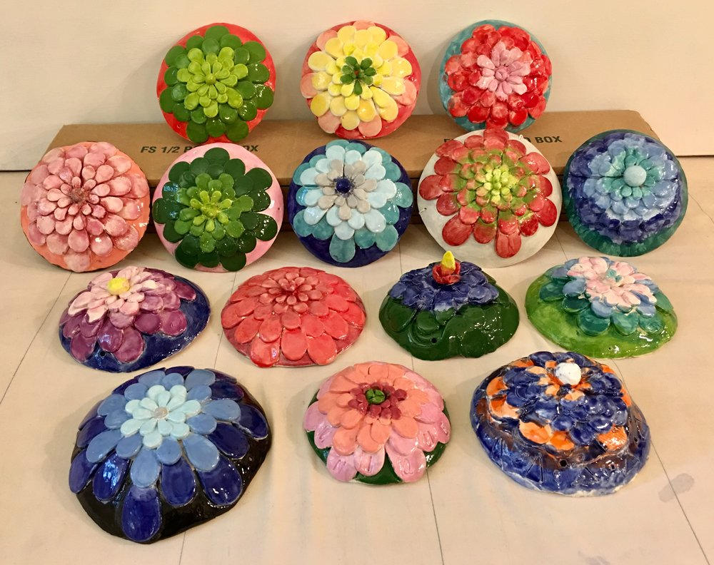 Flower wall sculptures by summer clay campers