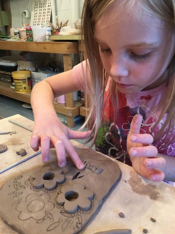 Helen making a sugar skull