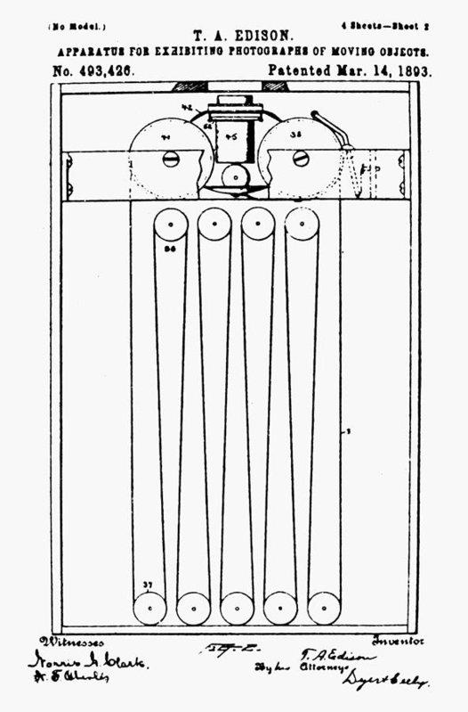 Thomas Edison's 1893 patent drawing