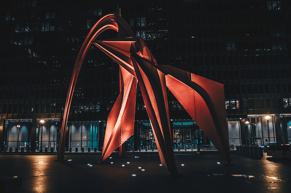 Calder's Flamingo located downtown Chicago.