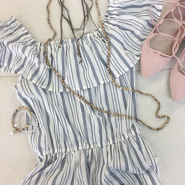 OTS dress + pink ballerina shoes ft. our classic leather choker lariat and semi precious stones = the perfect weekend look 💕 #ootd #TGIF