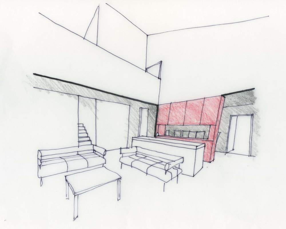 Interior perspective of living space and kitchen
