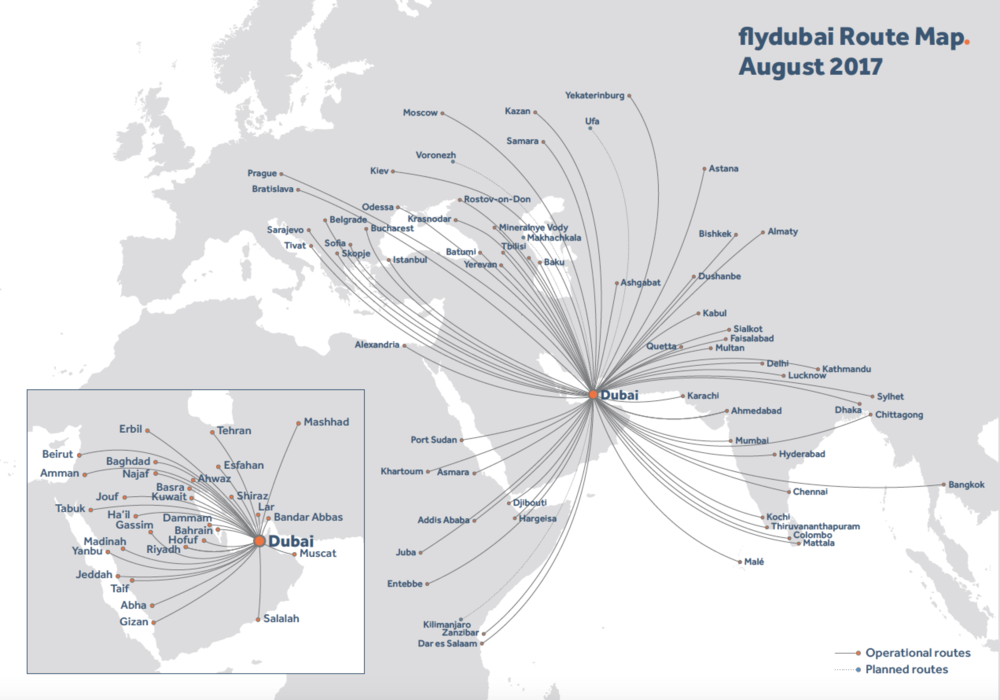 The ever expanding flight paths covered by Fly Dubai