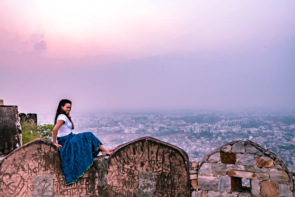 Sunset through the Jaipur haze from the top of Nahargarh Fort