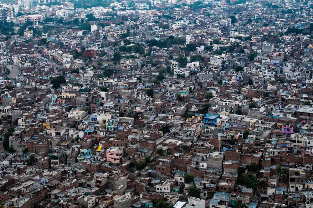 The view over a sprawling Jaipur suburb