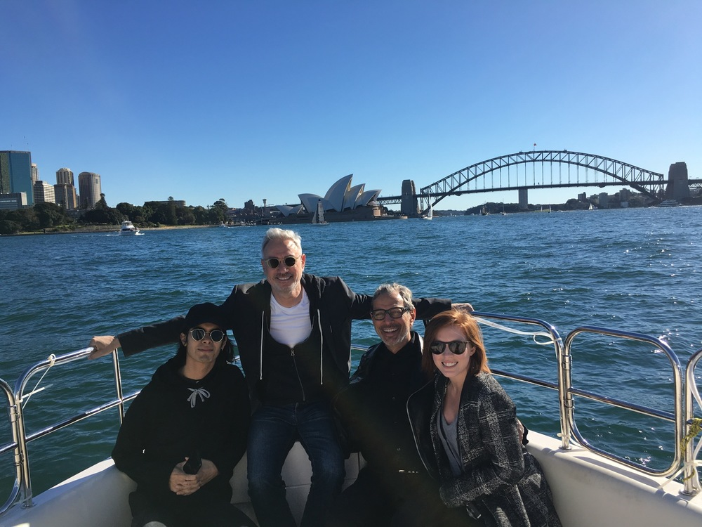 Roland, Jeff, Omar, and Jenna head to lunch in Sydney, Australia