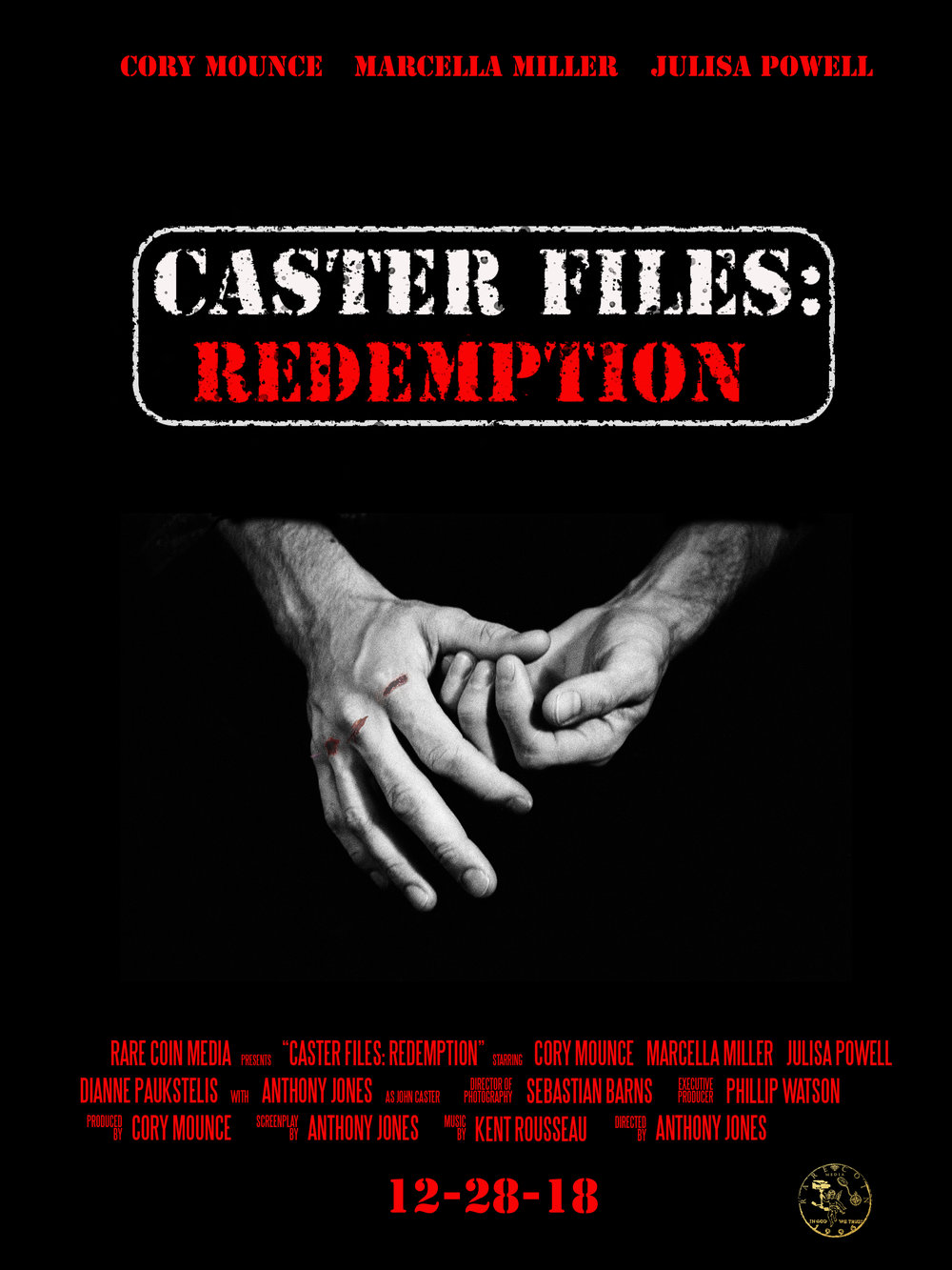 """Caster Files: Redemption - Caster Files: Redemption [2018] {Short Film} - Producer, Writer, Director [post-production]For all of you who have asked for more John Caster we give you Caster Files Redemption! While no, it isn't a direct sequel, we still are proud to add this as the next chronological story in the """"Casterverse""""!Caster Files: Redemption takes place a couple months after John Caster. The film is centered on James who is tricked into a therapy session to talk about an incident that happened a week prior."""
