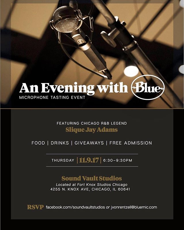 Tonight in Chicago! Come out to the studio for a @bluemicrophones event! It's free! Hear all the mics, eat, drink & win prizes! #chicagorecording #bluemicrophones #recordingstudio #chicagomusic #microphone