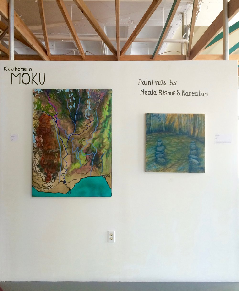 Installation at The ARTS at Marks Garage:  Moku o Waiahole,  Nanea Lum &  Maka'ala , Mealaaloha Bishop.