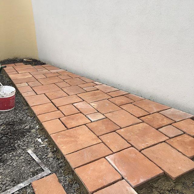 Random terracotta tiles going down . #terracotta #westminsterstone #oldprovencetiles