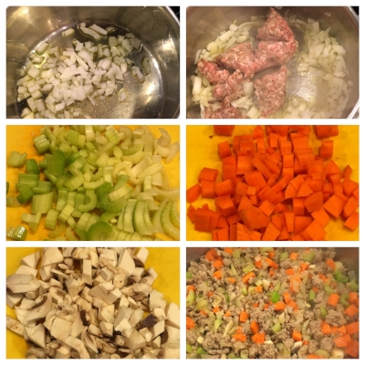 Pour olive oil in pan. Add 1 chopped onion until softened. Add in 1 pound of bulk Italian pork sausage+salt/pepper. Cook until browned and crumbled. Add in chopped celery (3-4 stalks), carrots (3-4), and mushrooms (big handful). Sauté for several minutes until softened.
