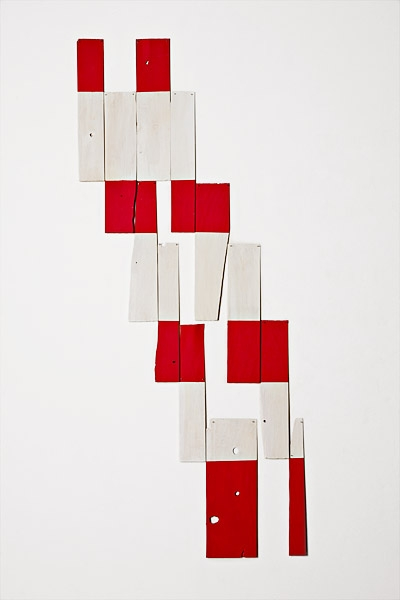 jetty, 2010, acrylic on white cedar shims with wire brads