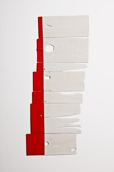 mercury, 2010, acrylic on white cedar shims with wire brads, 44 x21""