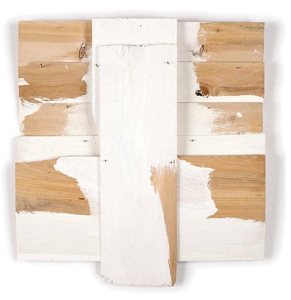 Milk Run, 2009, acrylic on white cedar shims, 17.5 x 16""