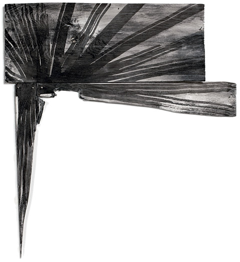 Point Ray, 2009, sumi ink and acrylic on white cedar shims with wire brads, 21 x 19""