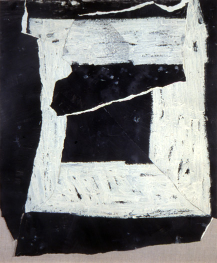 Ripped Square, 1984, oil on torn paper, 24 x 20""