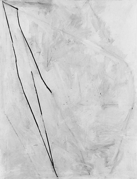 untitled, 1974, charcoal and acrylic on canvas, 80 x 66""
