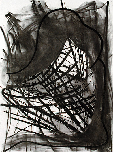 Boat, 1997, charcoal on paper