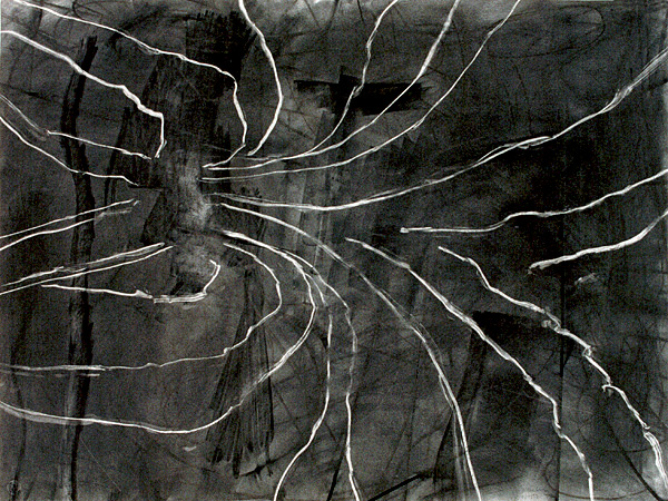 """Spiral, 1999, charcoal on paper, 30 x 40"""""""